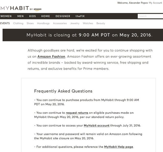Myhabit fashion sale site is closing on May 20, 2016