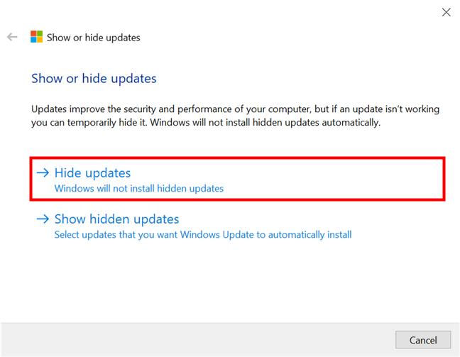 Mostrar u ocultar actualizaciones en Windows 10