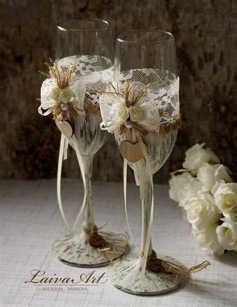 The 25  best Wedding champagne flutes ideas on Pinterest