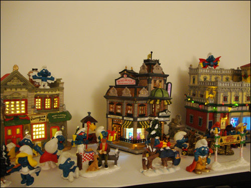 Smurfs invade my Christmas village
