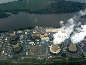 Photo of Three Mile Island nuclear power plant...