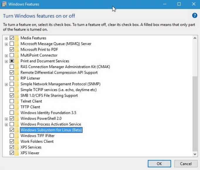 bash on ubuntu on windows 10 linux subsystem