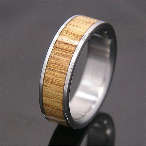 Jack Daniels Wood Titanium Wedding Band or Ring by