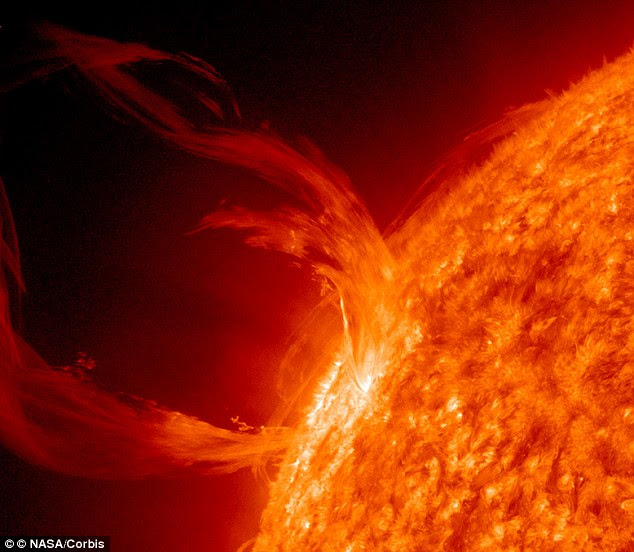 The U.S. government are preparing for a catastrophic solar flare (pictured is a flare in March 2010) which could wipe out power across the world for months