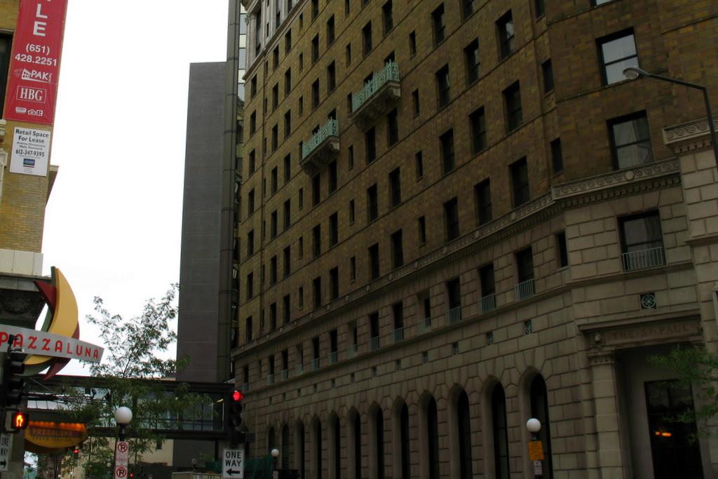 Two balcony's hang on the Saint Paul Hotel.