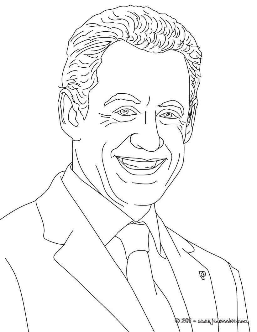 Coloriage du Président NICOLAS SARKOZY