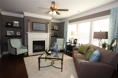 blue brown grey color scheme   family room