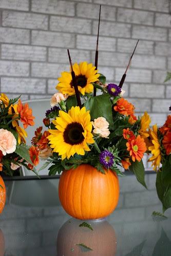Pumpkin Flower Arrangement Thanksgiving Centrepiece Life At Cloverhill