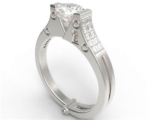 Unique Heart Shaped Diamond Handcuff Engagement Ring