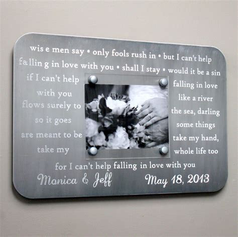 Engraved Metal Picture Frame   Anniversary Gift