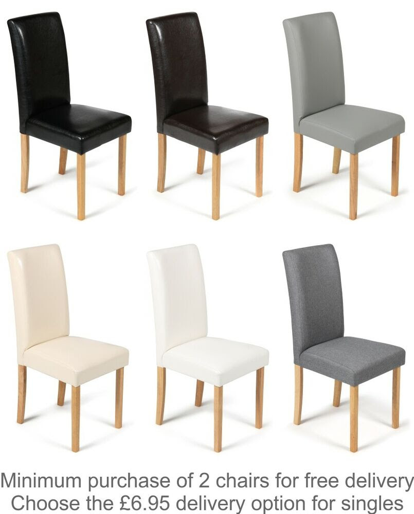 Faux Leather Dining Chairs Black Brown Cream Grey or White With Oak Stain Legs  eBay
