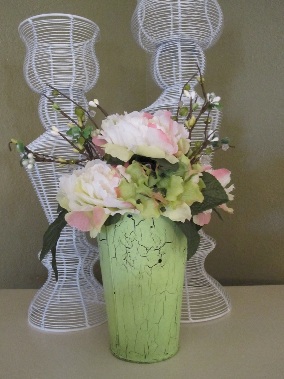 Cabbage Rose Shabby Chic Cottage Style Floral Arrangement Treasury Feature