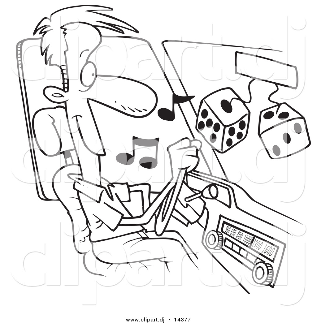Vector of Cartoon Man Listing to Tunes in His Car