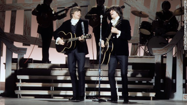 """Rolling Stone labeled the Everly Brothers """"the most important vocal duo in rock,"""" having influenced the Beatles, the Beach Boys, Simon & Garfunkel and many other acts. Here, they perform on the Johnny Cash Show in 1970."""