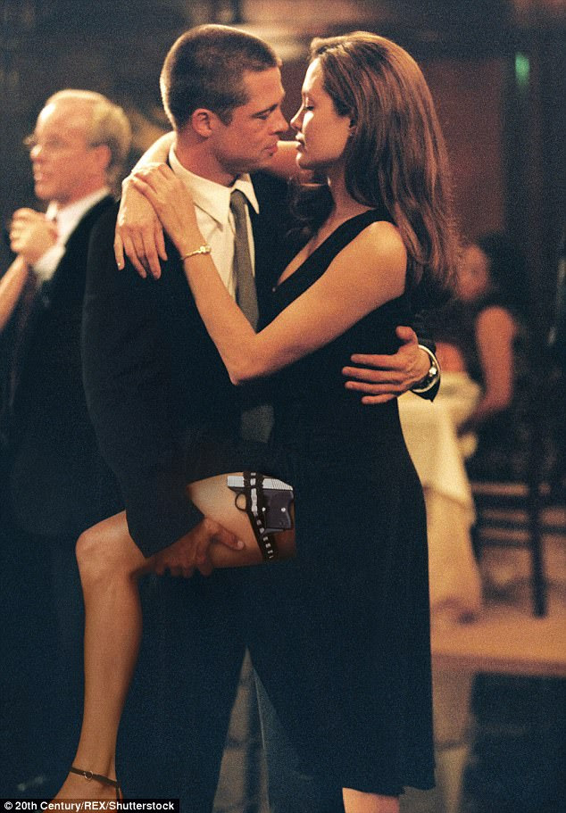 In character:Angelina and Brad, who became known as Brangelina, met on the set of their film Mr. And Mrs. Smith in 2004; pictured in the film