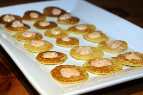 Corn Blinis with Chipolte Cream