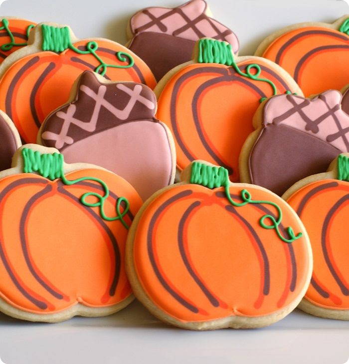pumpkin and acorn cookies with decorating tutorial