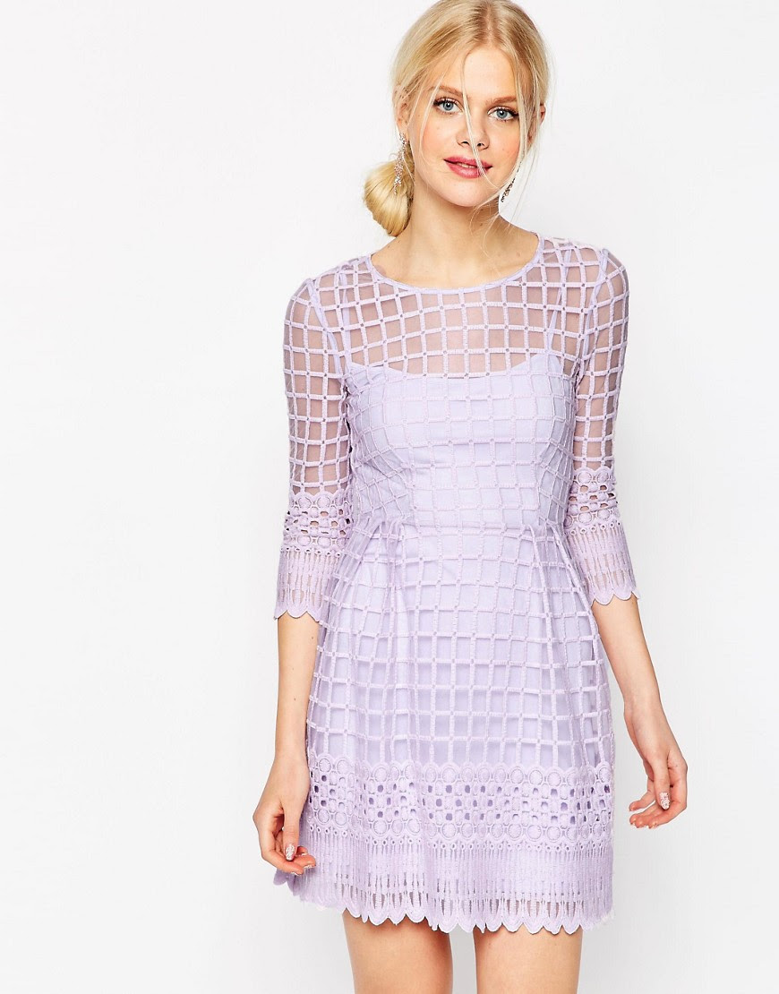 Image 1 of ASOS Mesh Skater Dress With Embroidered Border