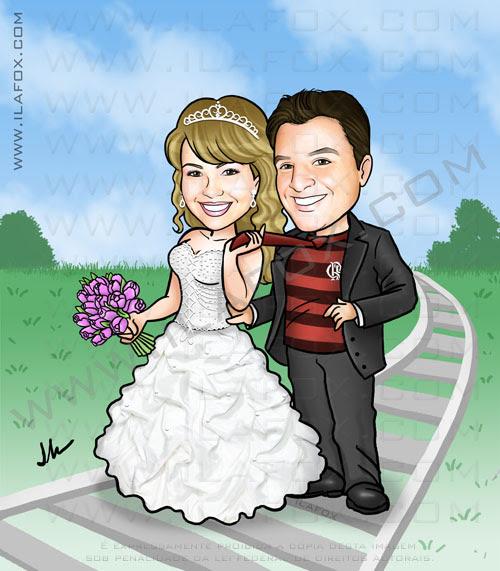 Caricatura noivos, caricatura noivinha, caricaturas para casamentos, ila fox