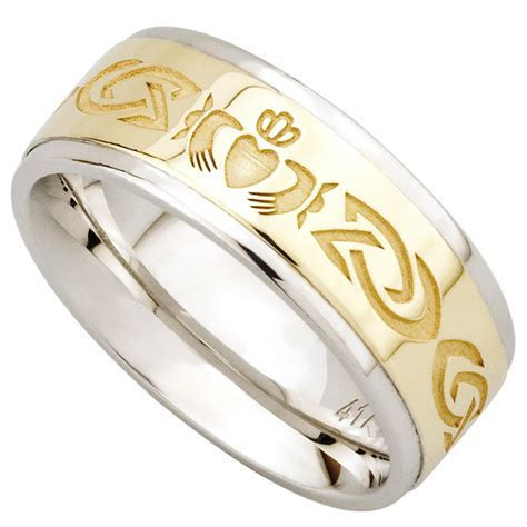 Claddagh Ring   10k Gold and Sterling Silver Celtic Knot
