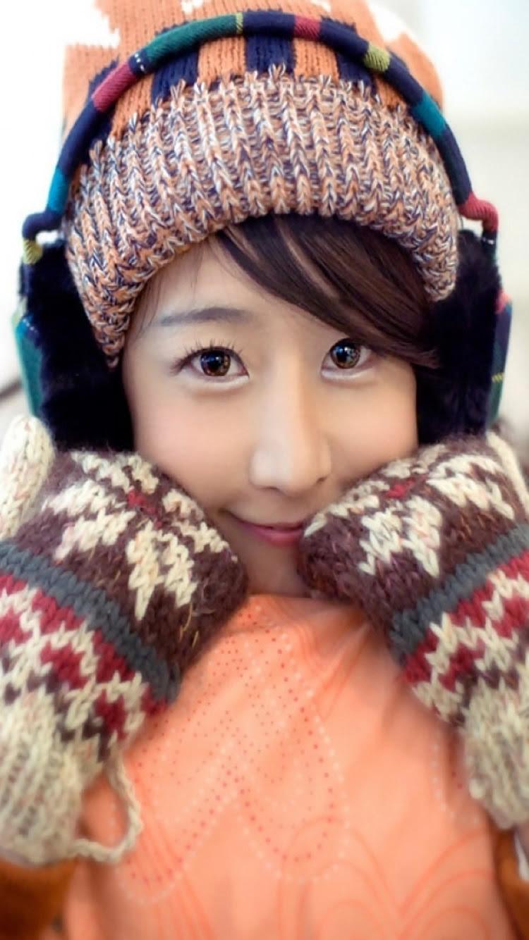 日本の女の子ミトンハットスマイルiphone7壁紙 Iphoneチーズ