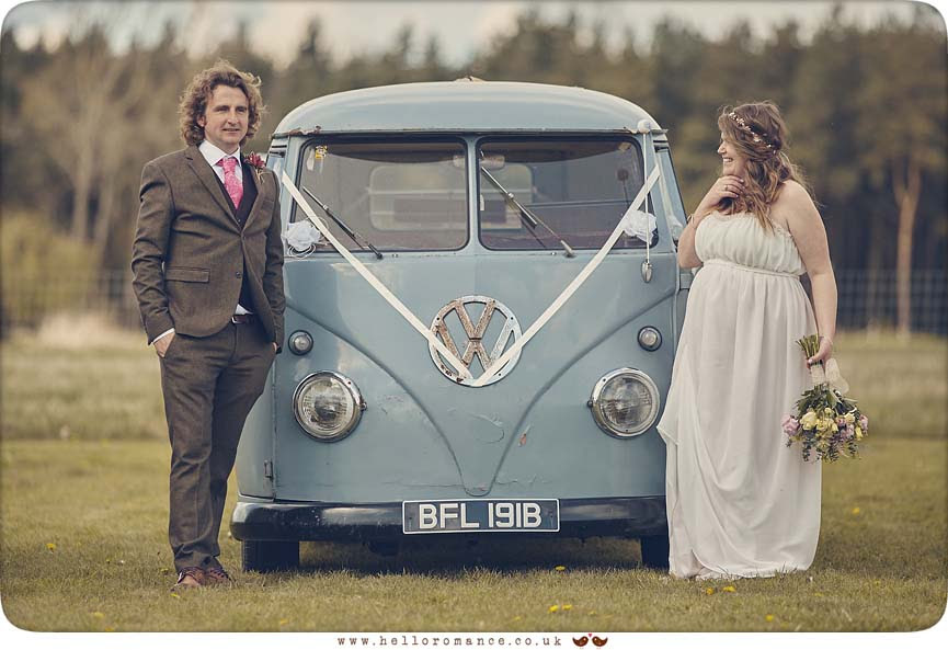 Wedding Photos with VW Camper Van wedding car - www.helloromance.co.uk