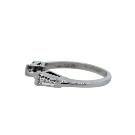 Platinum Tapered Baguette Diamond Wedding Band Ring   Boca