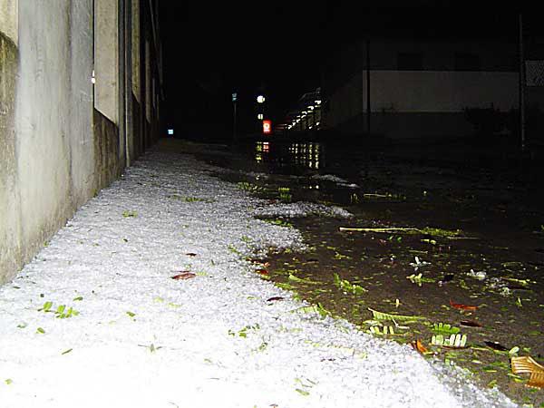 hail in the carpark