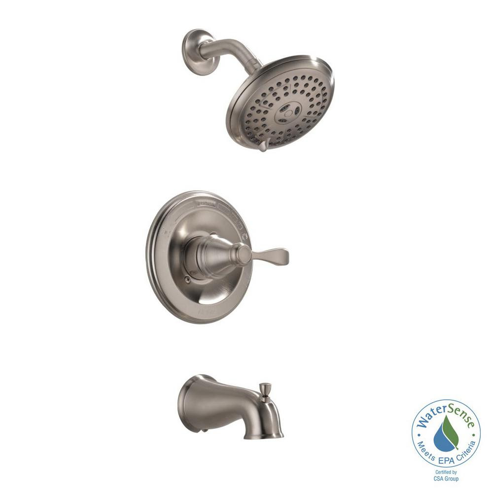 Delta Porter Single Handle 3 Spray Tub And Shower Faucet In Brushed