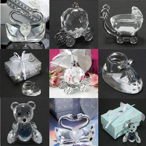 crystal glass shoe angel swan bear wedding favors baby