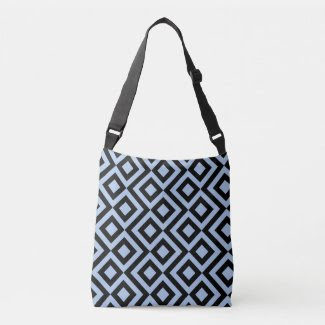 Geometric Light Blue and Black Meander Tote Tote Bag