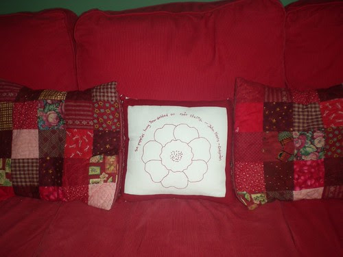 Redwork Cushion Swap Cushion on the sofa