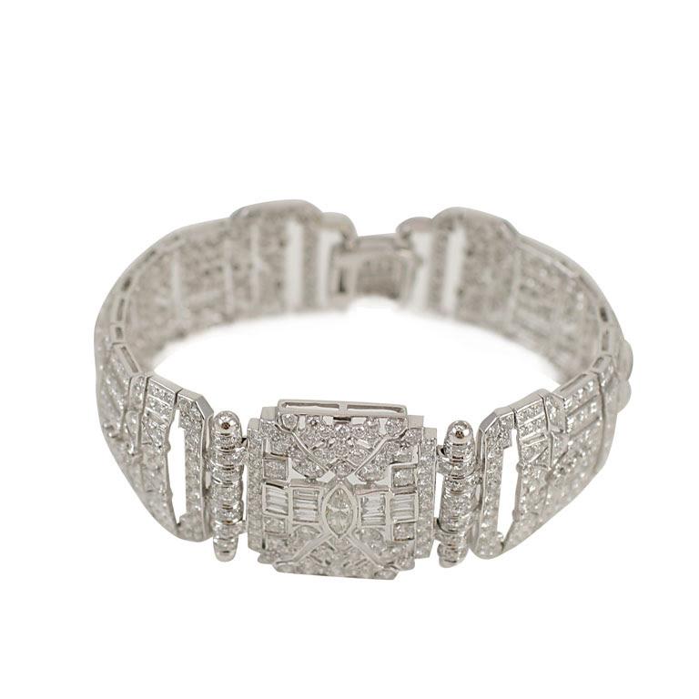 Diamond Art Deco Style Bracelet Jeri Cohen Fine Jewelry