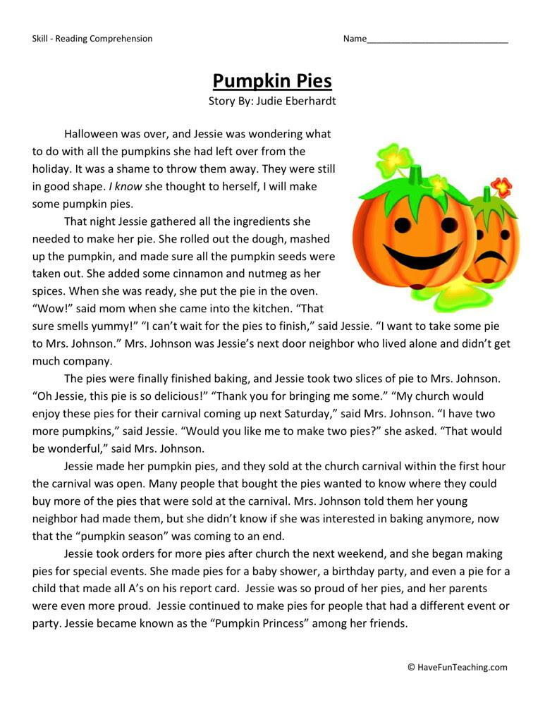 Reading Prehension Worksheet Pumpkin Pies