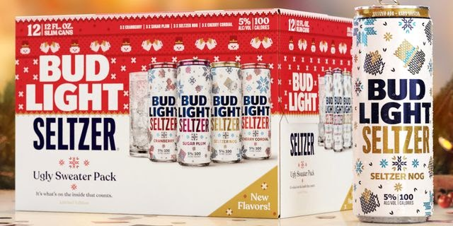 Bud Light Seltzer's New Ugly Sweater Pack Includes Sugar Plum And Egg Nog Flavors