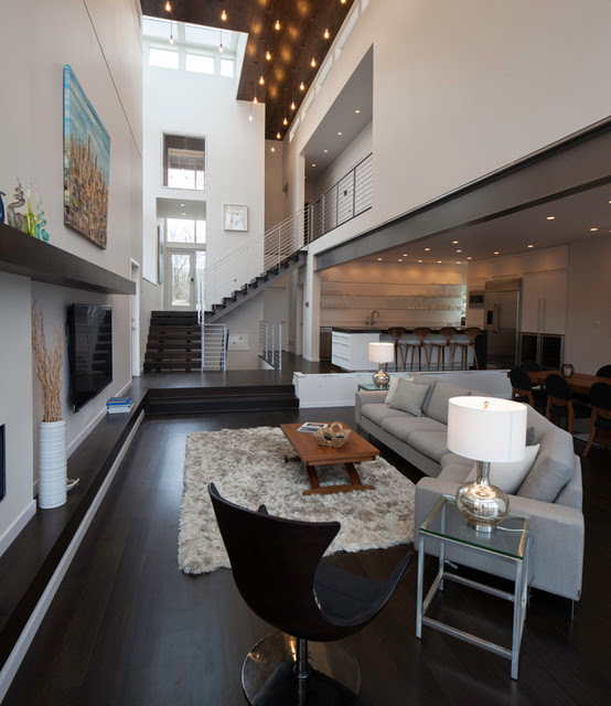 Manica Lake House  Contemporary  Living Room  kansas city  by Faust Construction