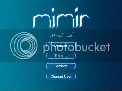 Mimir Mental Math main meny