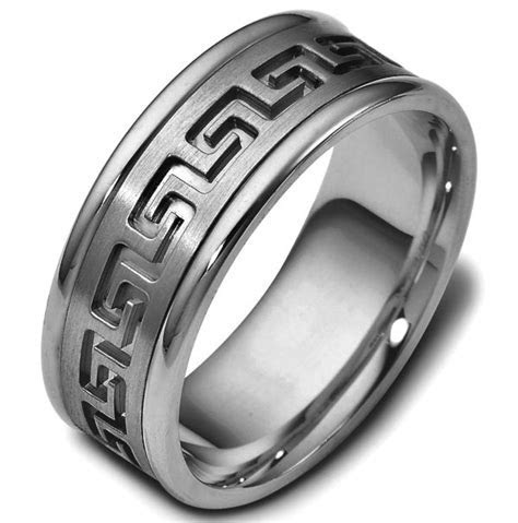 47528TI Greek Key Carved Wedding Ring