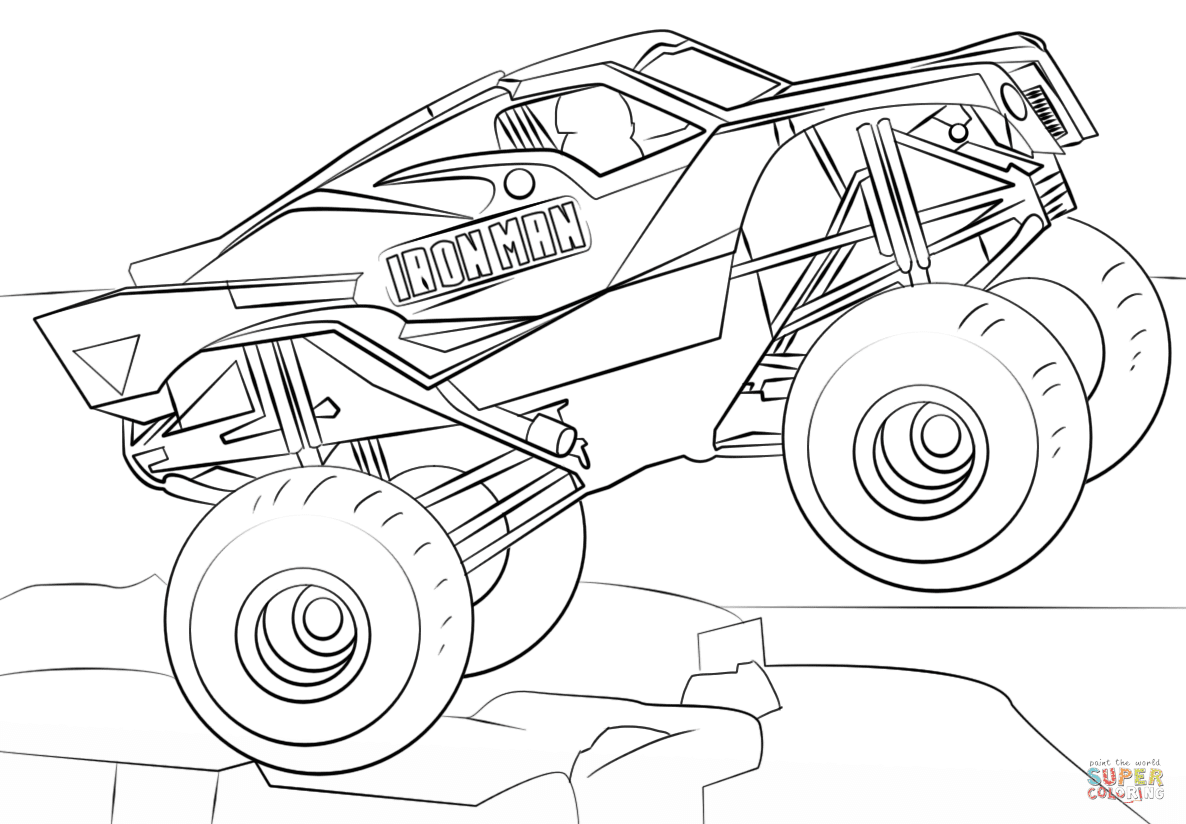Iron Man Monster Truck coloring page | Free Printable ...