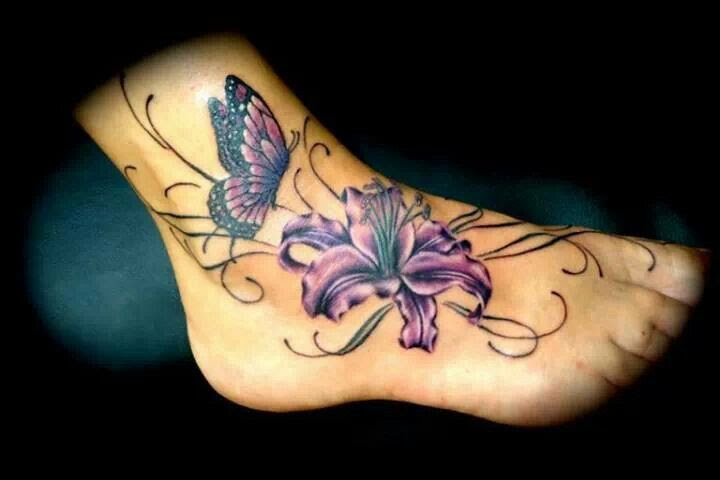Beautiful Orchid And Butterfly Foot Tattoo Tattoomagz