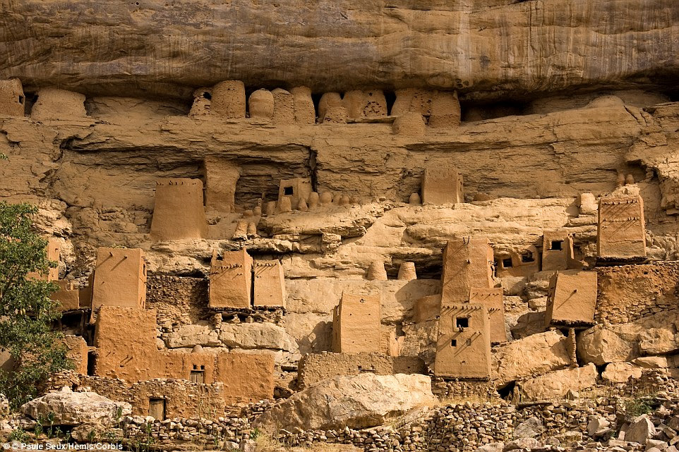 The incredible Cliff of Bandiagara in   Mali is an impressive series of clay structures, which are home to the Dogon people