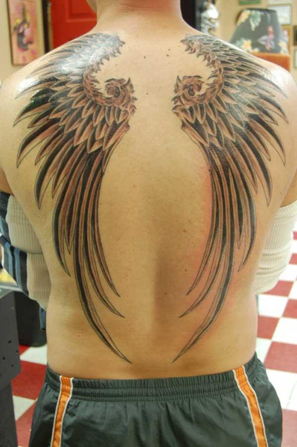 Tribal Phoenix Large Wings Tattoo On Back