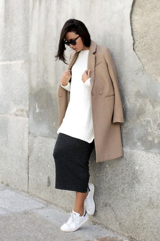 Le Fashion Blog Blogger Style Casual Cool Spring Combo Longline Camel Coat Oversized Knit Grey Skirt White Adidas Sneakers Via Lucitisima