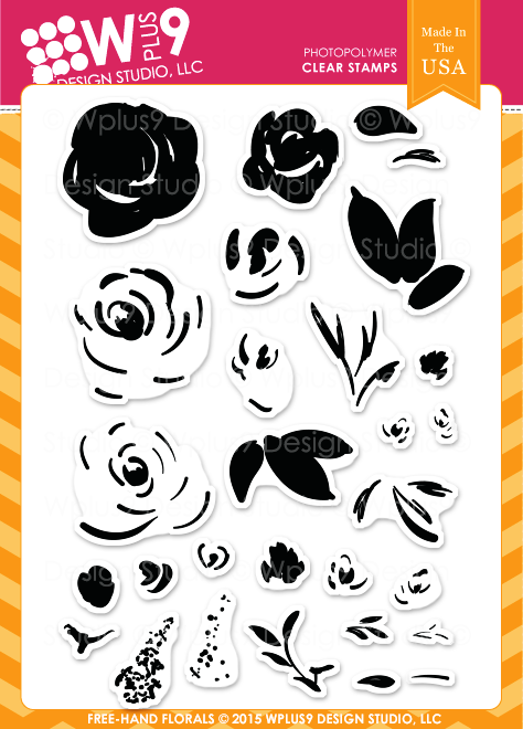 Wplus9 Free Hand Florals Stamp Set