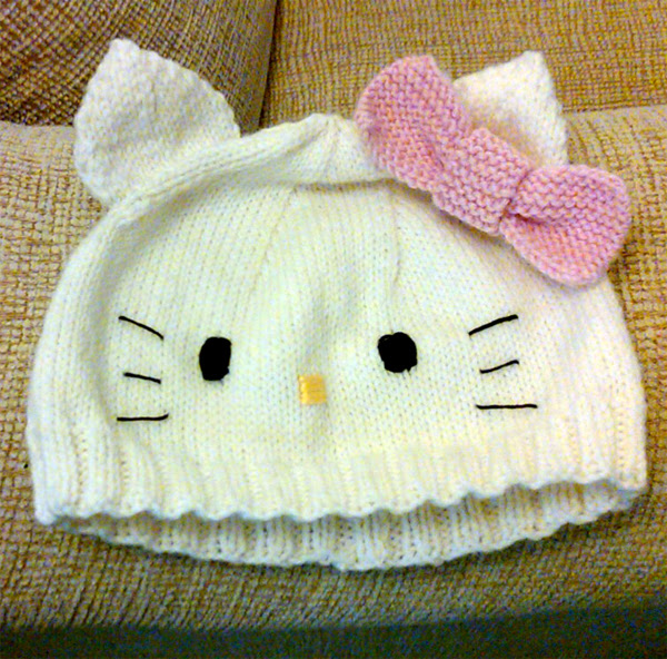 Free Knitting Pattern for Hello Kitty Baby Hat
