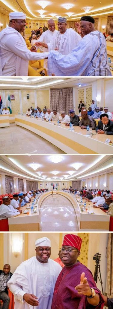 Pictures From The Meeting Of President Buhari And APC Senators Held Last Night