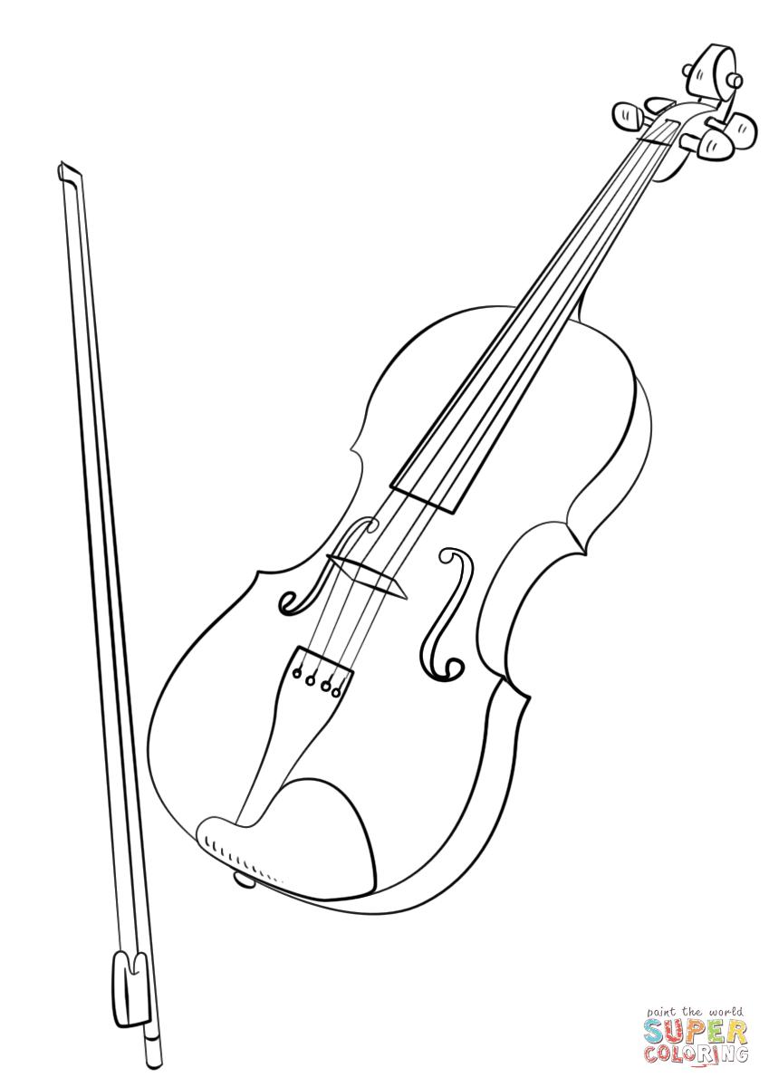 Disegno Di Violino Con Larchetto Da Colorare Disegni Da Colorare