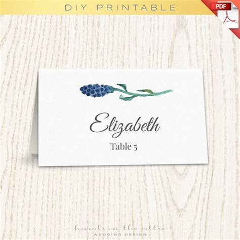 Floral Wedding Placecard Template, Printable Escort Cards