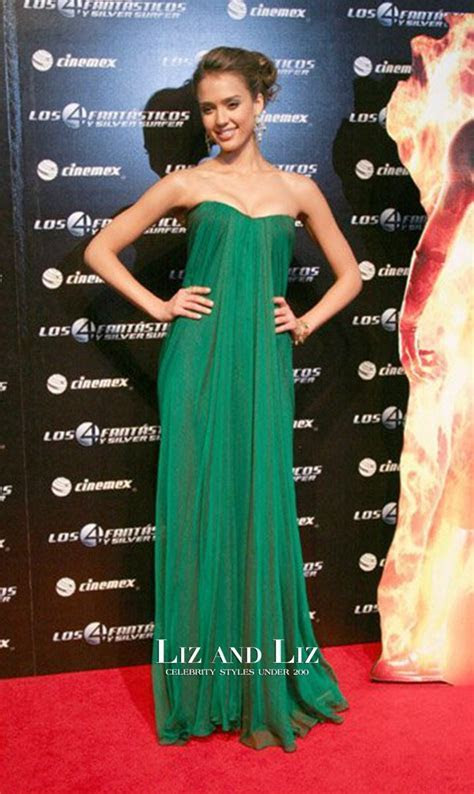Jessica Alba Green Strapless Draped Chiffon Celebrity Prom