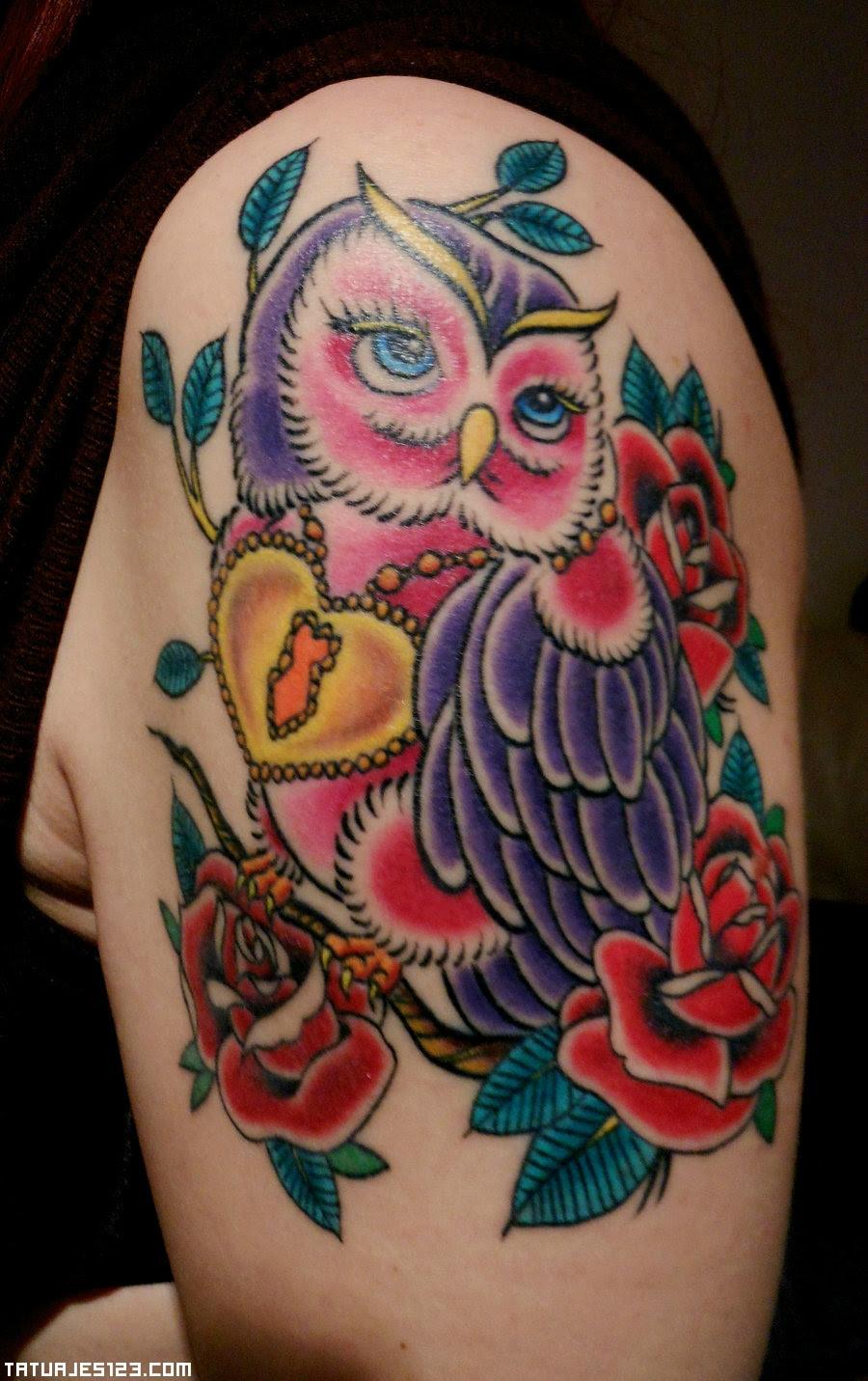 Búho A Todo Color Tatuajes 123